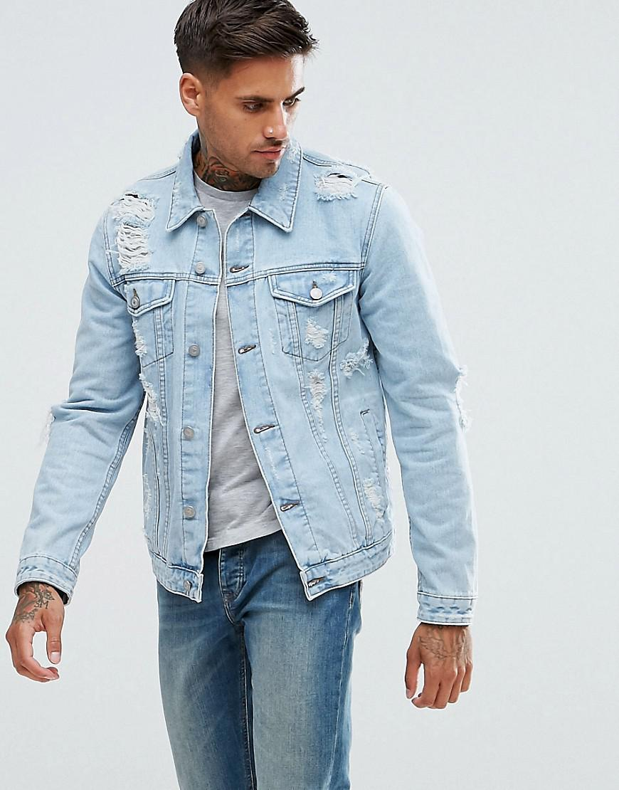 lyst  asos denim jacket with rips in extreme light wash