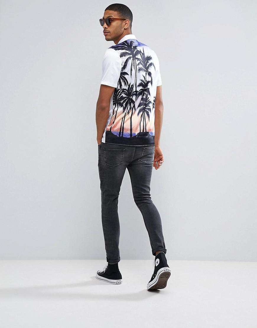 ASOS Synthetic Regular Fit Sateen Shirt With Palm Tree in White for Men