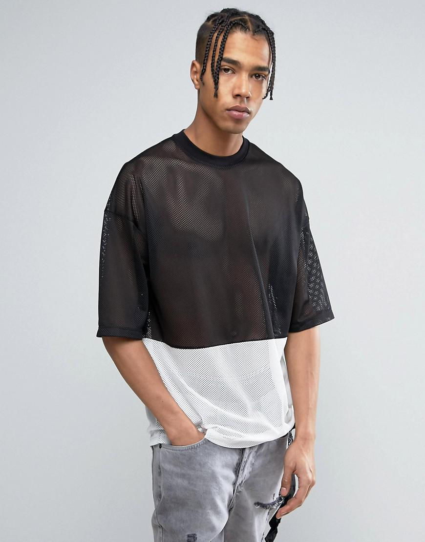 Asos Oversized T Shirt In Monochrome Mesh Fabric With Half