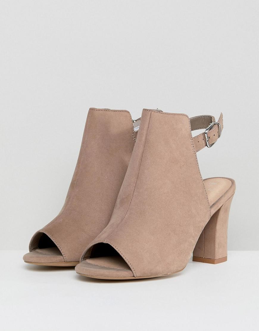 New Look Denim Peep Toe Shoe Boot Block