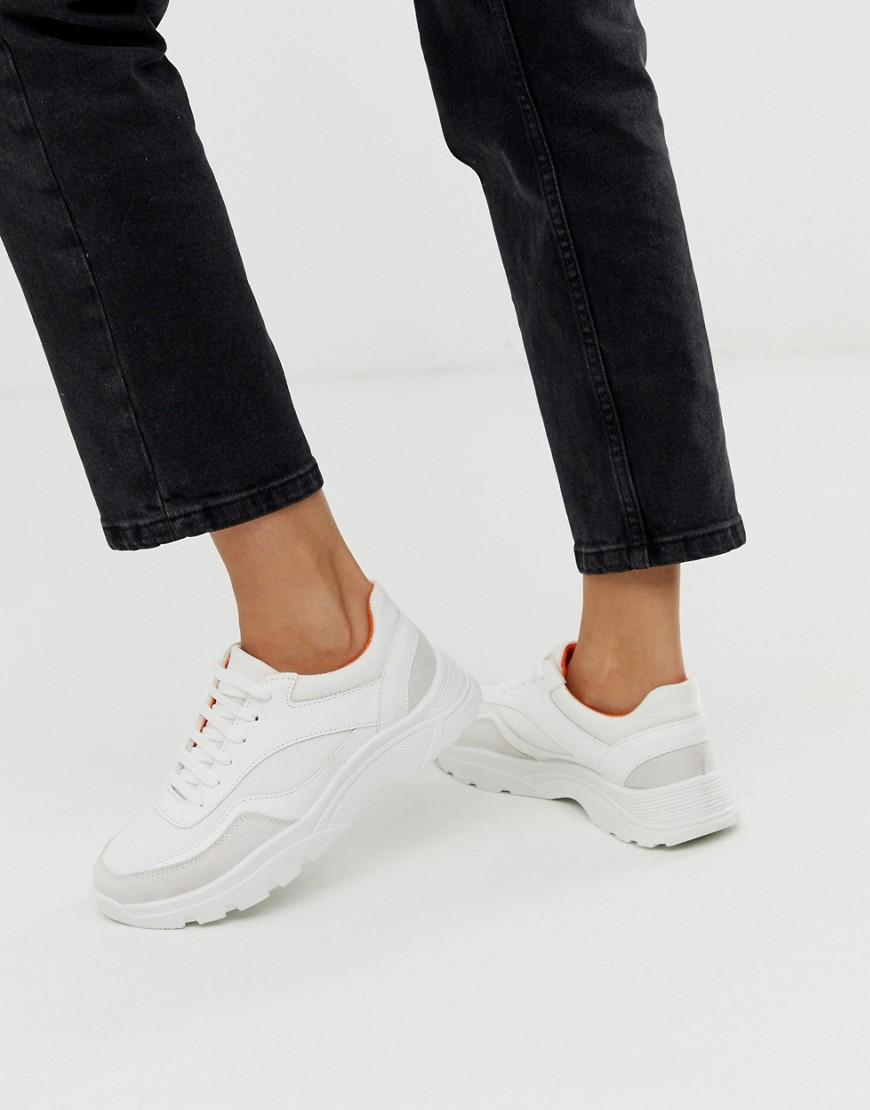 20f438df8d ASOS Daliah Chunky Trainers In White And Orange in White - Lyst