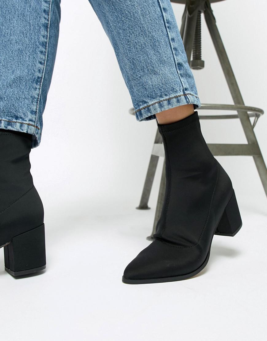 8f5b422302d ASOS Black Rally Heeled Sock Boots