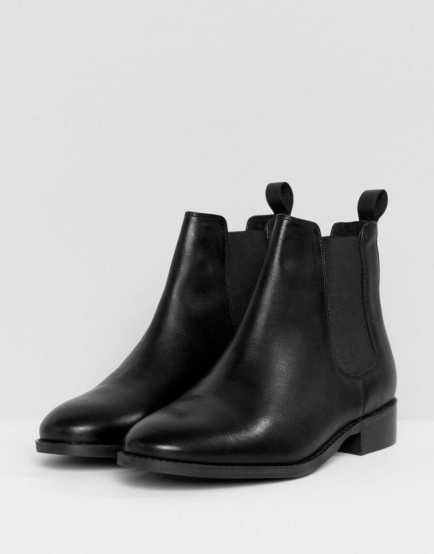 Office Bramble Leather Chelsea Ankle Boots in Black
