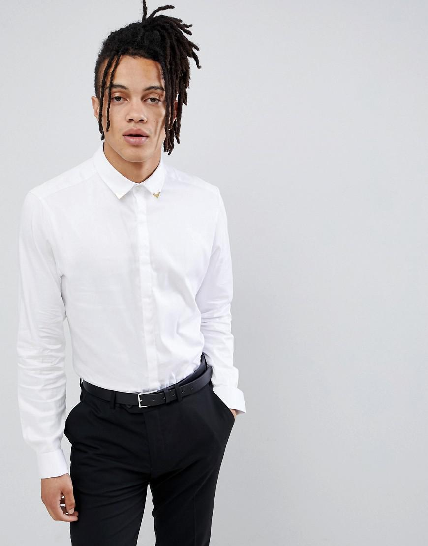 e1ff10c7 ASOS Slim Fit Sateen Shirt With Western Tipping In White in White ...
