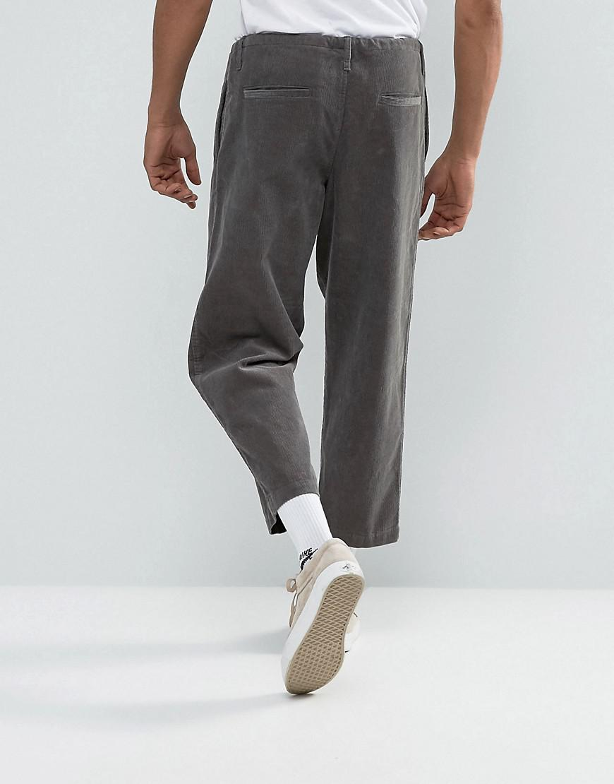 ASOS Cotton Asos Oversized Tapered Cord Pants With Rope Detail In Gray for Men