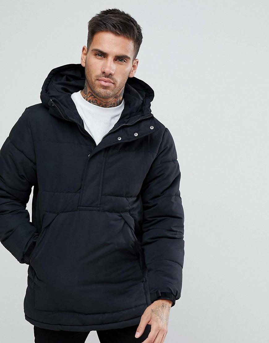 pull bear half zip padded jacket with hood in black for. Black Bedroom Furniture Sets. Home Design Ideas
