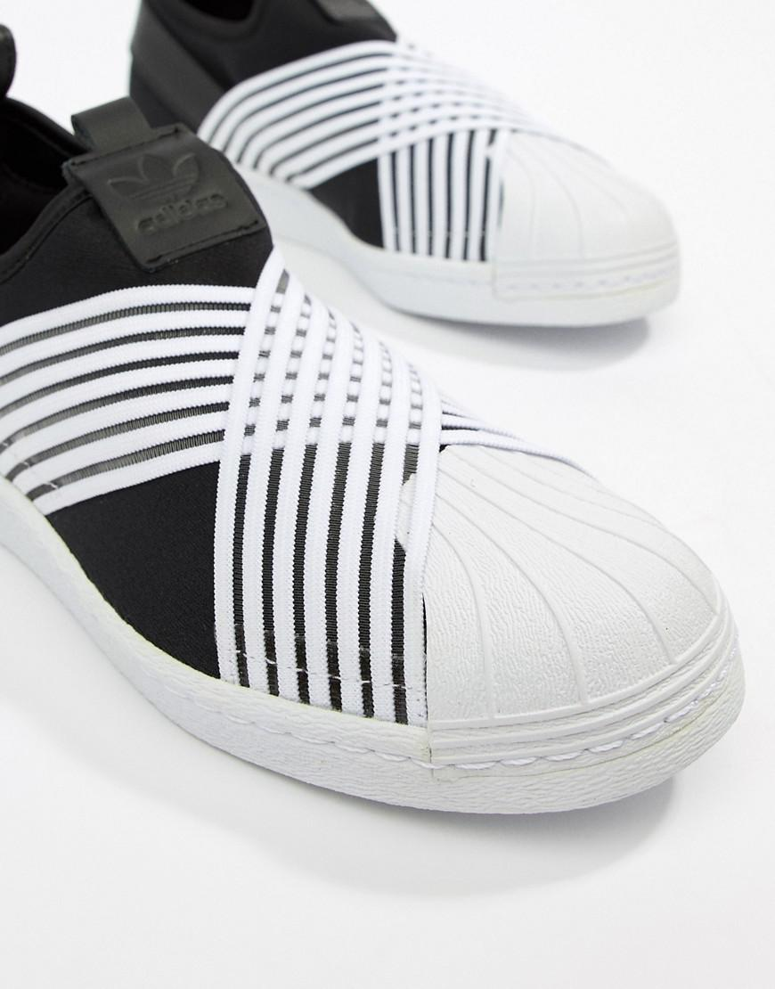 meet 1a8c4 66cb7 adidas Originals Superstar Slip On Trainers In Black And White in ...