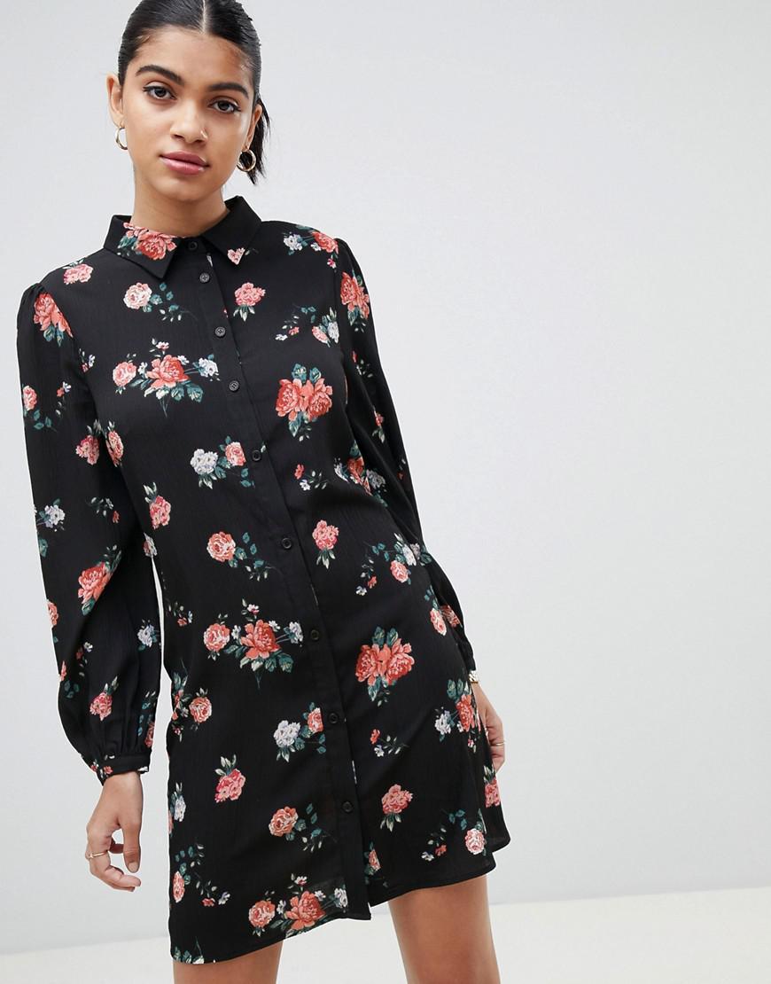 Manches Vintage En Fleurs Black Fashion Union Coloris Robe Chemise Longues JlTc3FK1