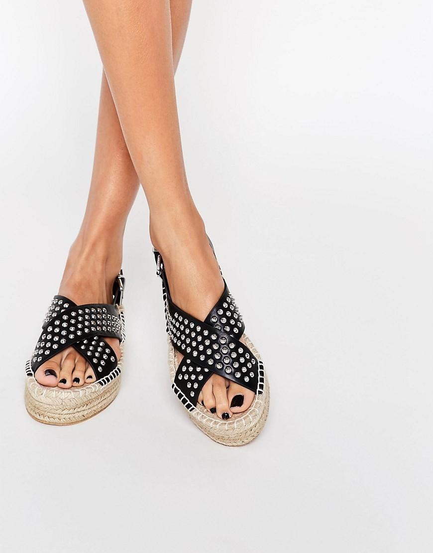 asos jammy chunky studded espadrille sandals in black lyst. Black Bedroom Furniture Sets. Home Design Ideas