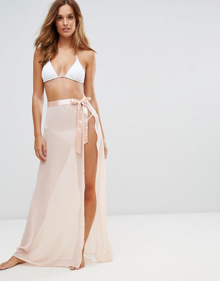 ad18c4ac5c Lipsy Tie Side Beach Skirt With Split in Pink - Lyst