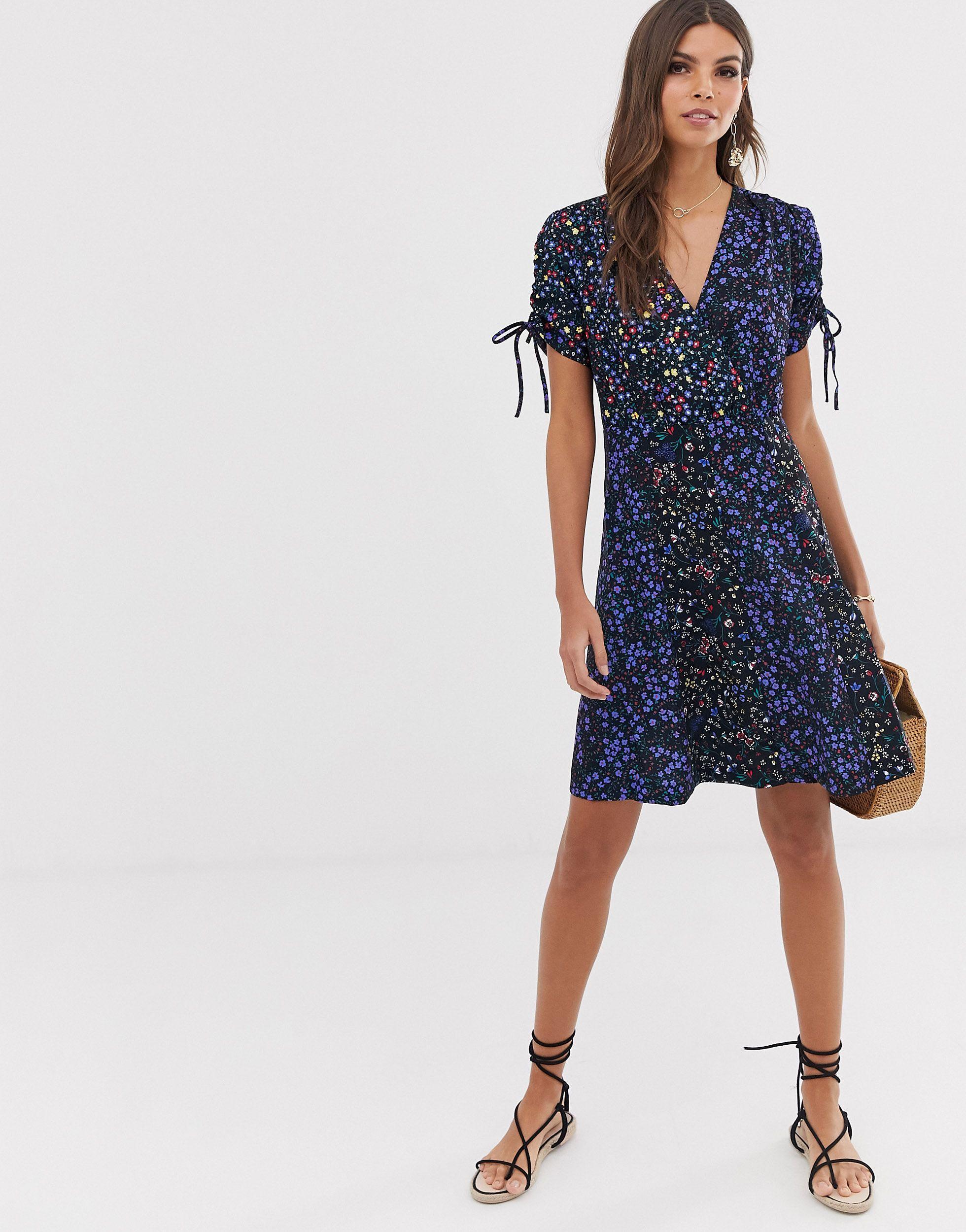 Vestido con estampado floral combinado Aubine French Connection de Tejido sintético de color Azul
