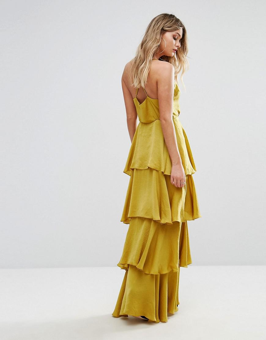 Lyst Missguided Tiered Ruffle Maxi Dress In Yellow