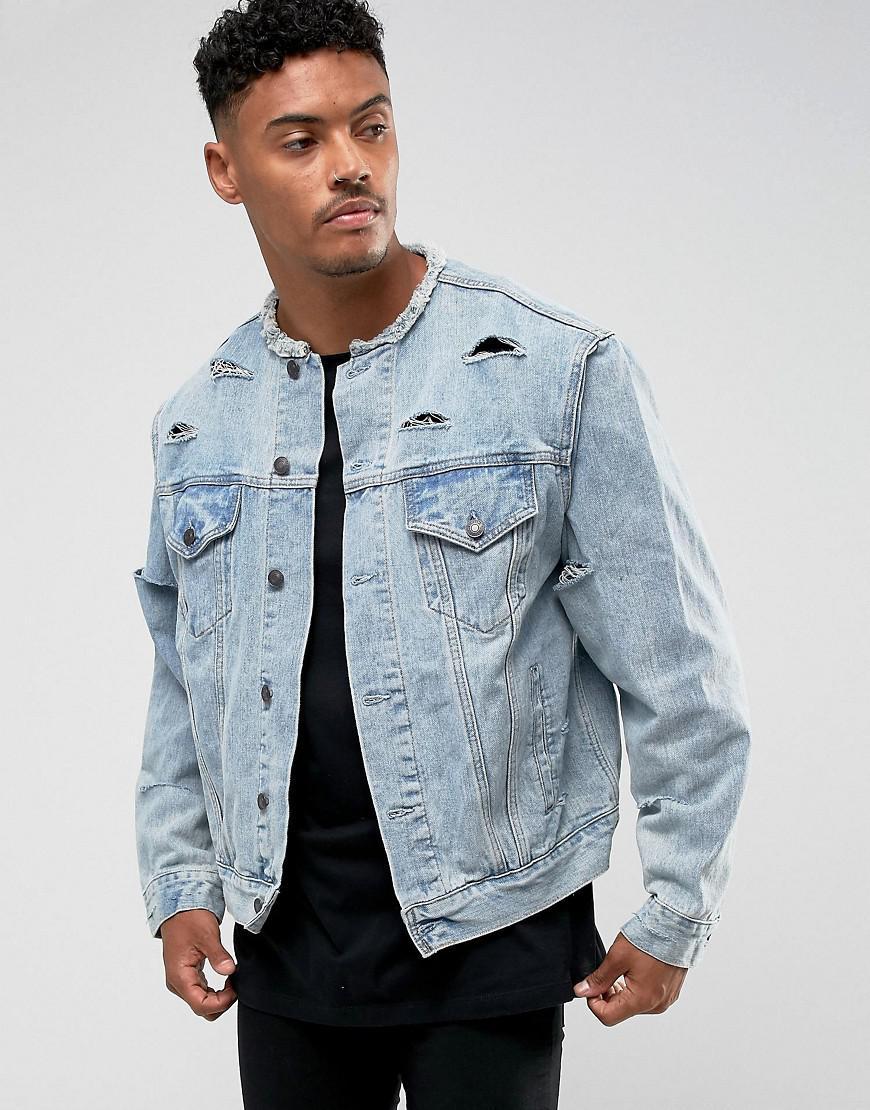 54eaab48ad Lyst - SIKSILK Denim Jacket In Blue in Blue for Men
