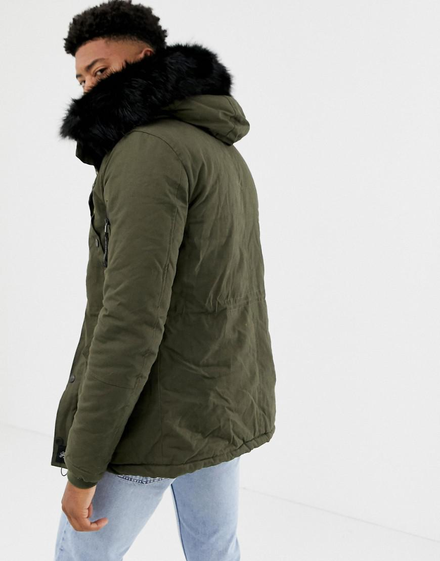 29541ae7eaa61 Lyst - Sixth June Parka Coat In Khaki With Black Faux Fur Hood Exclusive To  Asos in Green for Men