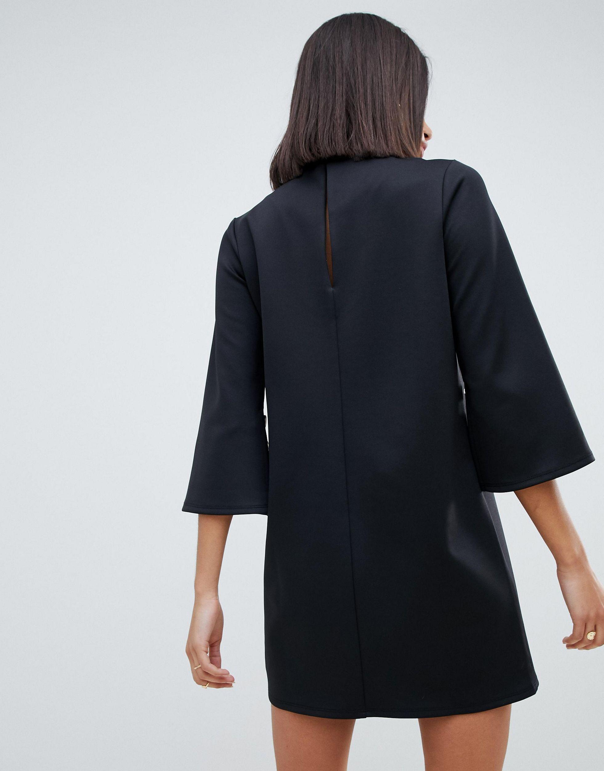 Robe droite avec boutons en imitation corne sur les manches Jean ASOS en coloris Noir