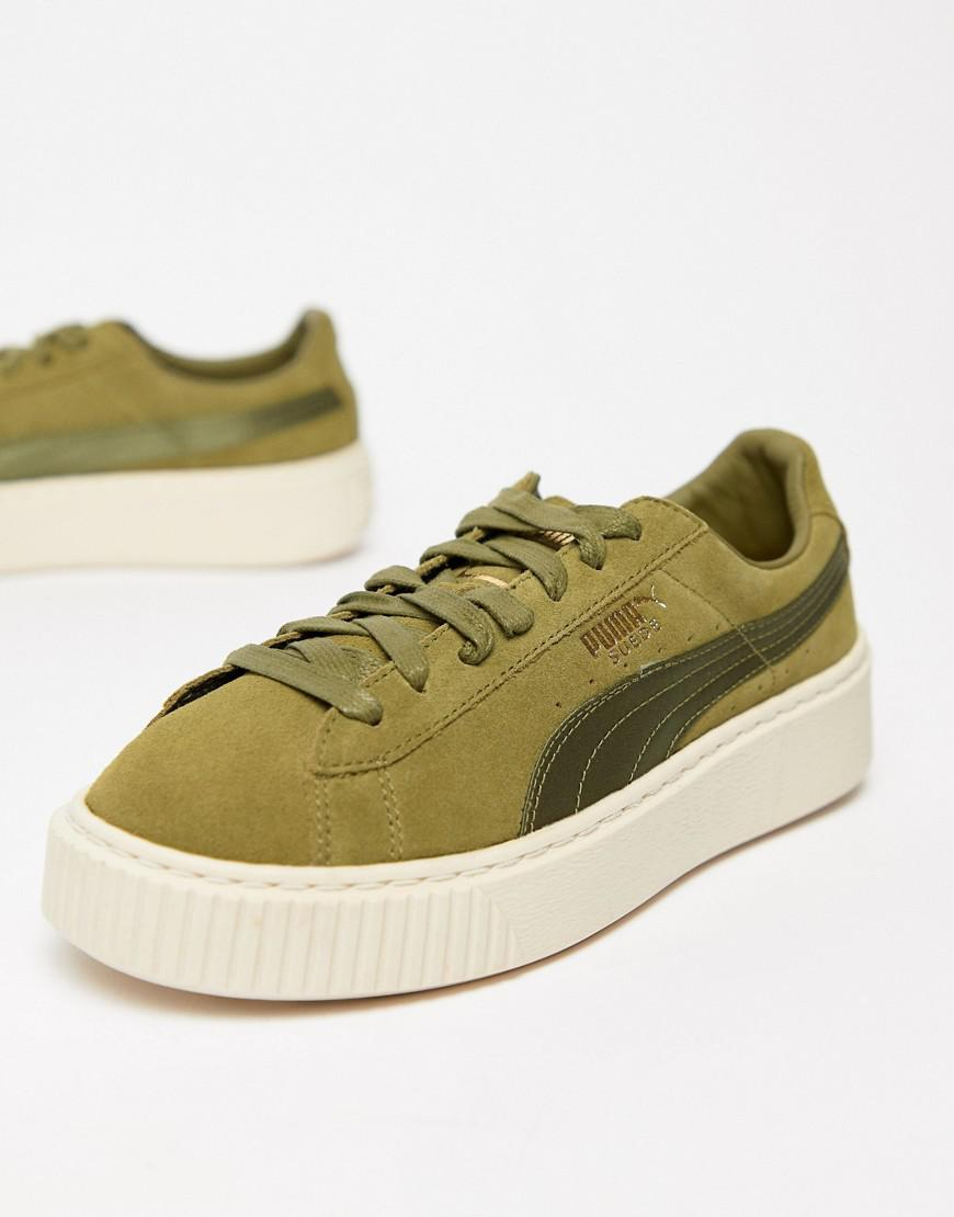 Puma Suede Platform Satin Trainer In Olive in Green - Lyst 463afac25