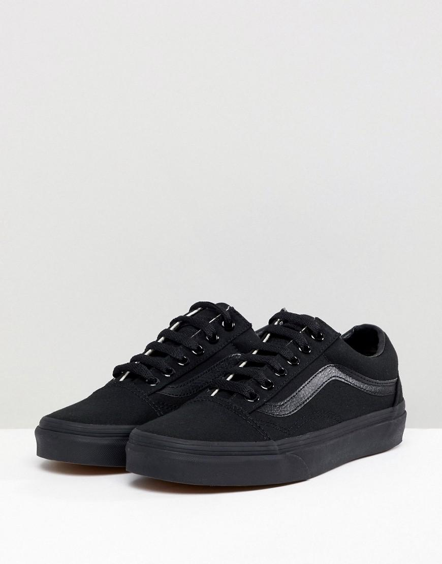 Vans Leather Classic Old Skool Trainers In All Black