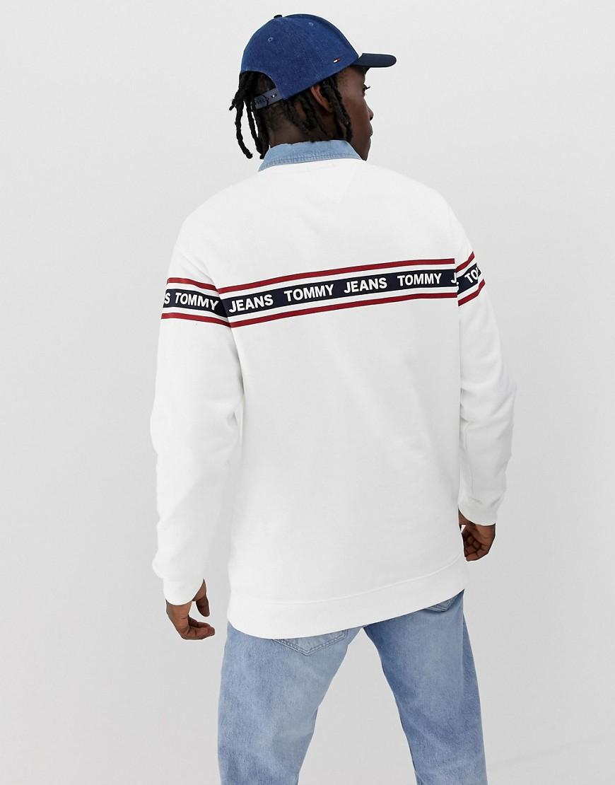9c42bcd4 Lyst - Tommy Hilfiger Relaxed Fit Sweatshirt With Chest And Sleeve Taping  In White in White for Men
