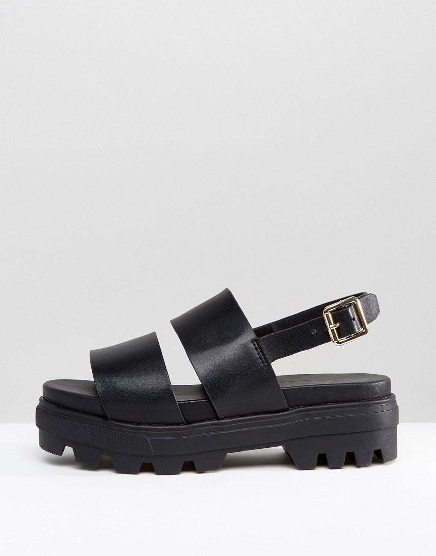 6dcbaa34be4 Lyst - ASOS Flaunt Chunky Flat Sandals in Black
