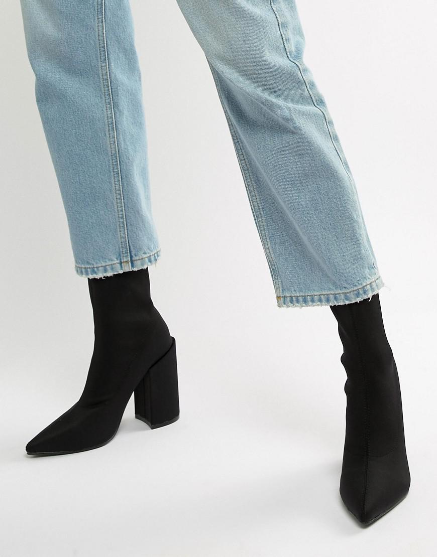 black sock boots with block heel