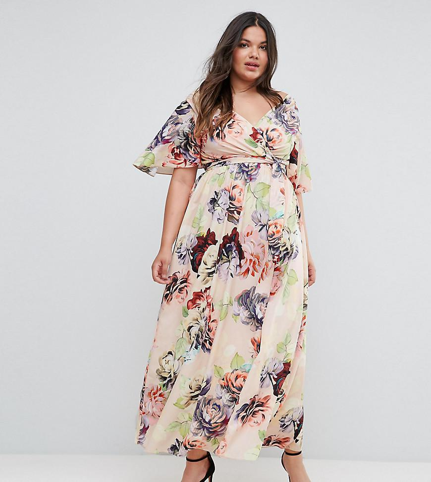 ASOS Wedding Print Soft Flutter Sleeve Maxi Dress