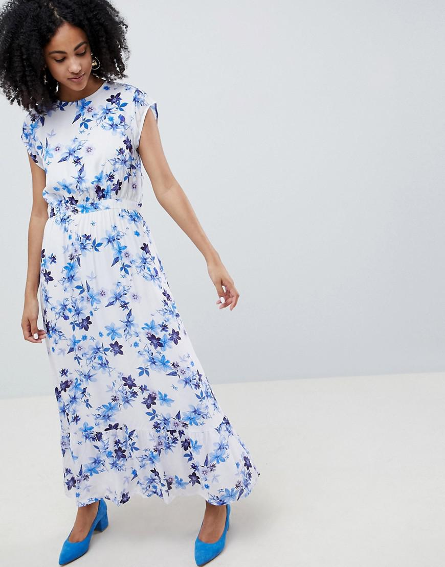 e2cb38bc5c5 Gestuz Floral Maxi Dress With Frill Shoulder in Blue - Lyst