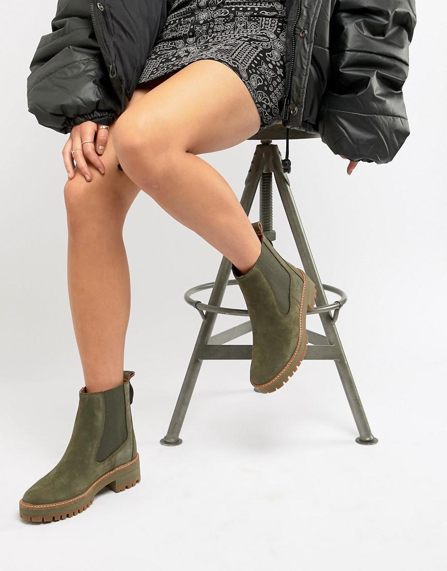 540b57baed2 Women's Green Courmayeur Valley Olive Leather Chelsea Pull On Ankle Boots