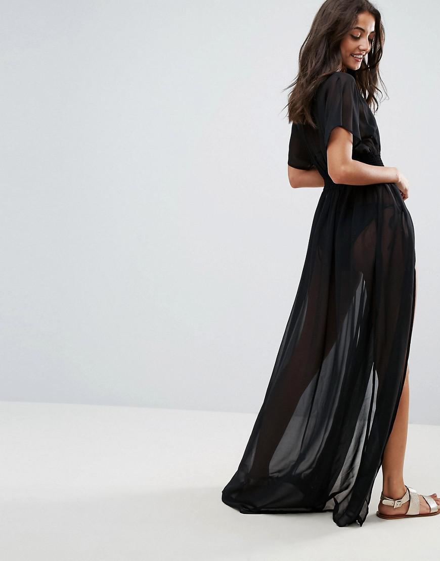 a3ec61f99d4 ASOS Asos Design Tall Shirred Waist Maxi Chiffon Beach Kaftan in Black -  Lyst