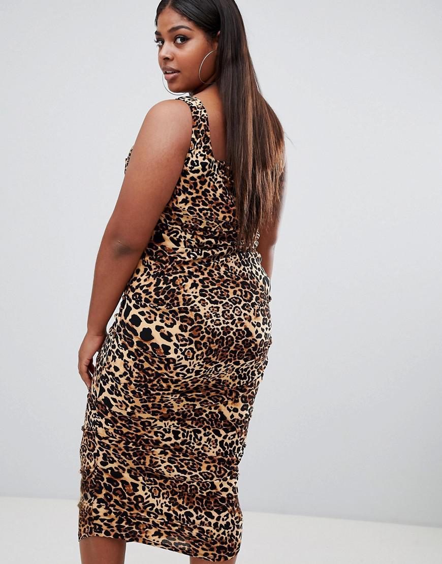 609e6cc036 Lyst - ASOS Asos Design Curve Slinky Animal Print Midaxi Dress in Brown
