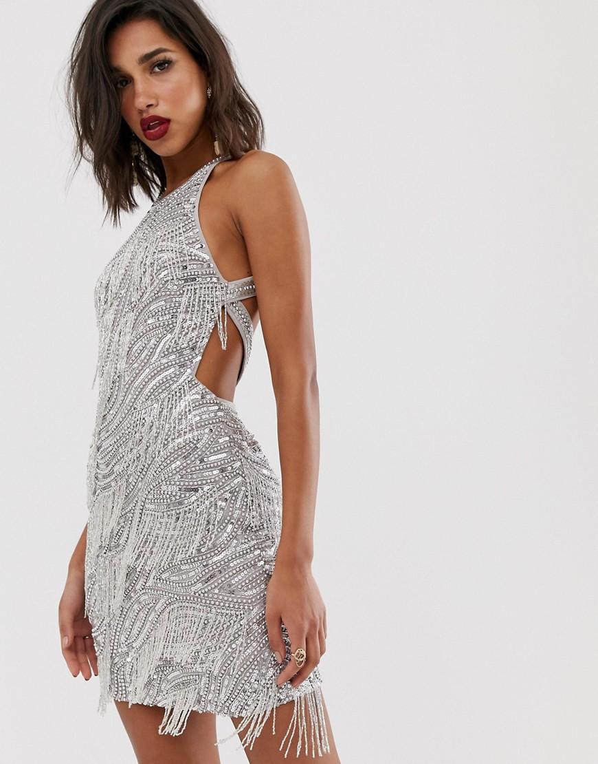 02b79dff9dce ASOS Sequin Fringe Cutout Mini Dress in Metallic - Lyst