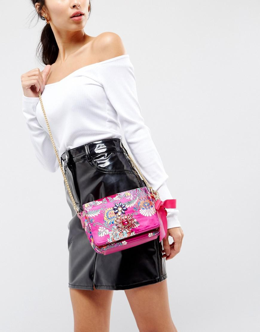 Faith Synthetic Embroidered Cross Body Bag in Pink