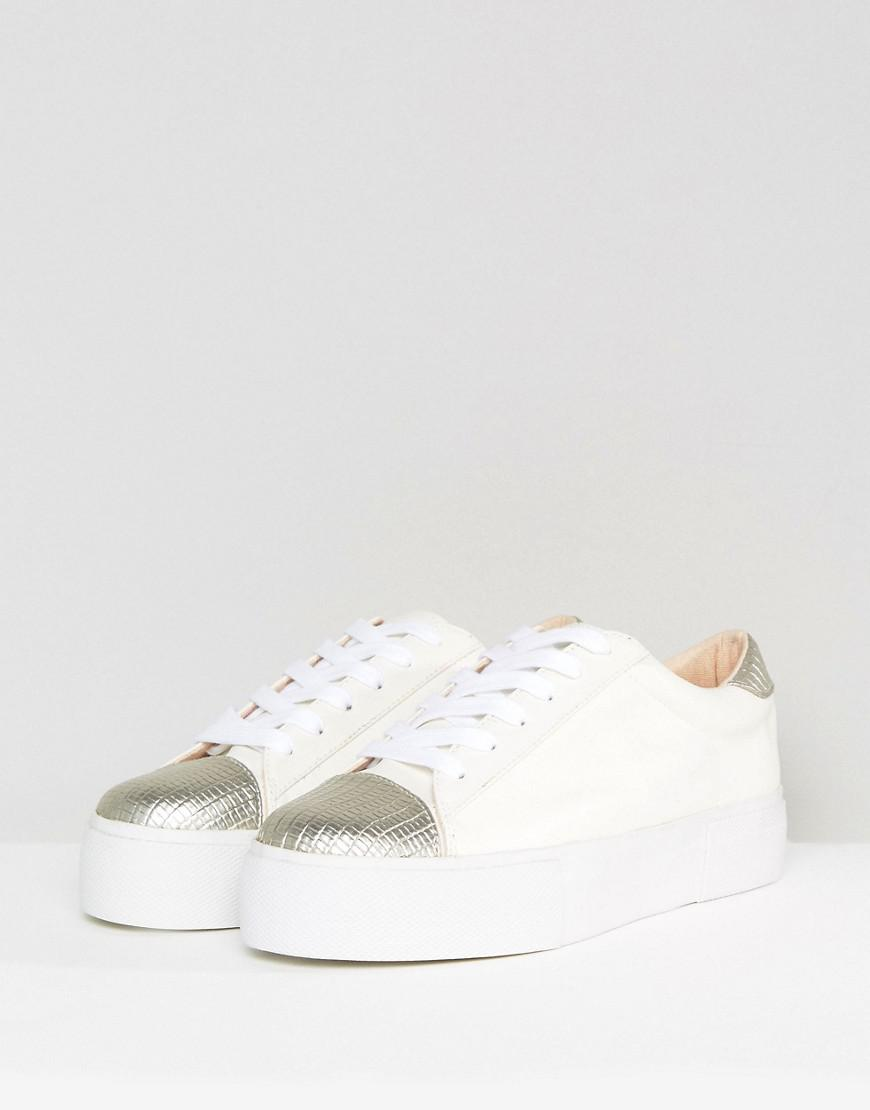 Miss Kg Kamille Metallic Panel Trainer in White