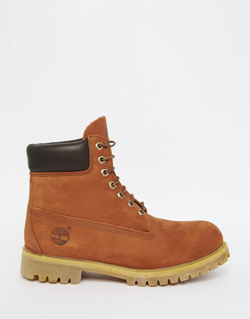 timberland 6 inch premium boots in brown lyst