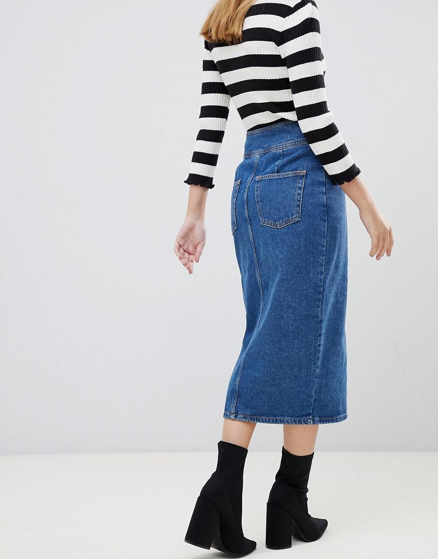 281dbb246c ASOS - Asos Design Petite Denim Midi Skirt With Poppers In Midwash Blue -  Lyst. View fullscreen