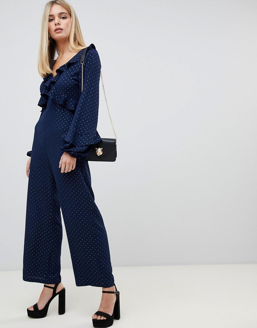 9c62bf73f47 Fashion Union Jumpsuit With Tie Open Back in Blue - Lyst