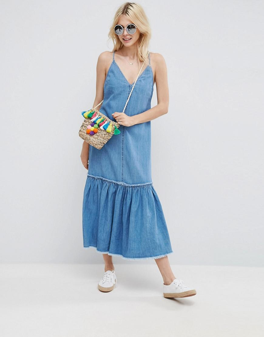 0a590eed9d1 Lyst - ASOS Denim Maxi Dress In Pretty Blue Wash With Tiered Hem in Blue