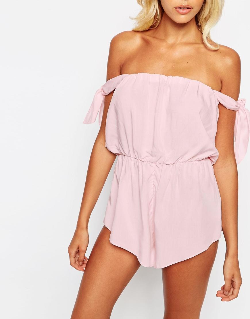 6df067d2005f Lyst - ASOS Bunny Tie Off Shoulder Beach Playsuit in Pink