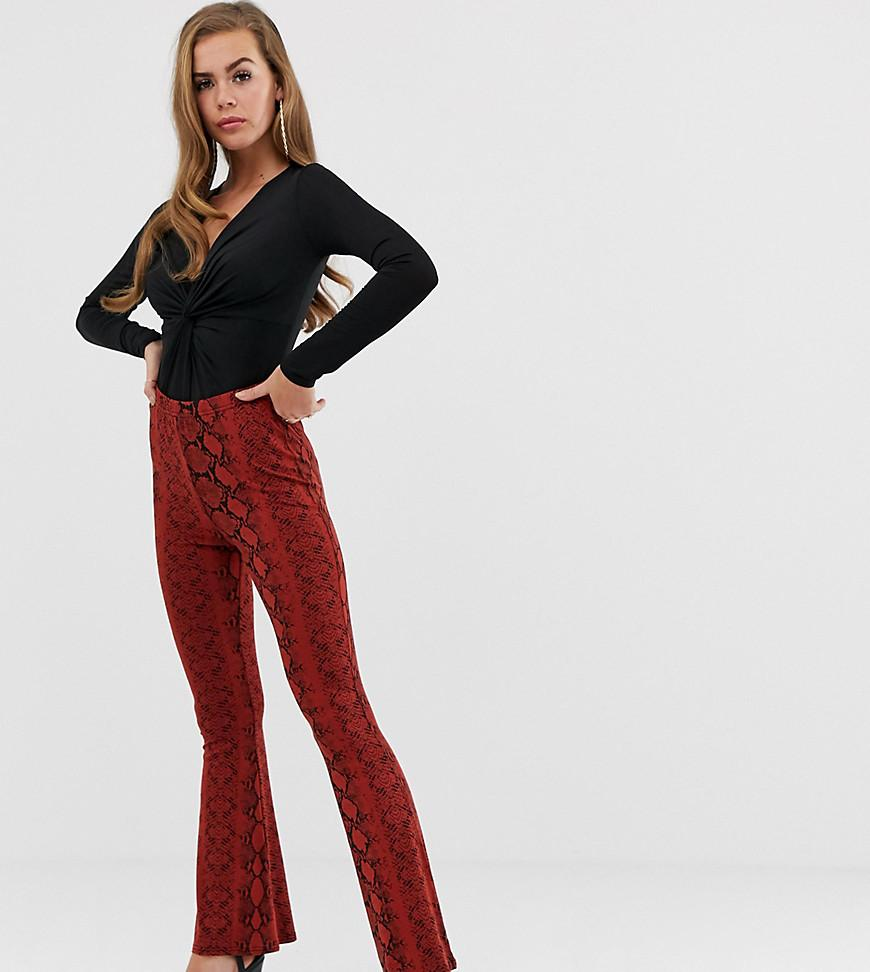 99a753badf42e Boohoo Casual Flare Trousers In Red Snake in Red - Lyst