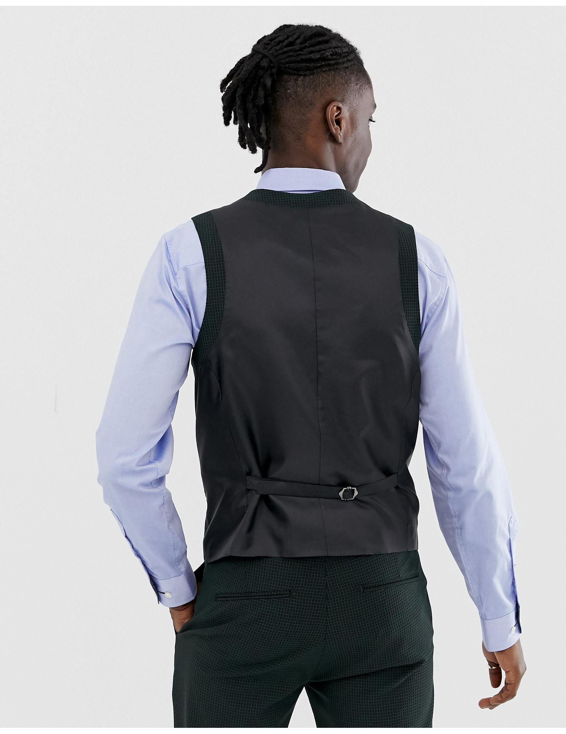 Heart & Dagger Synthetisch Slim-fit Gilet Met Mini-patroon in het Zwart voor heren