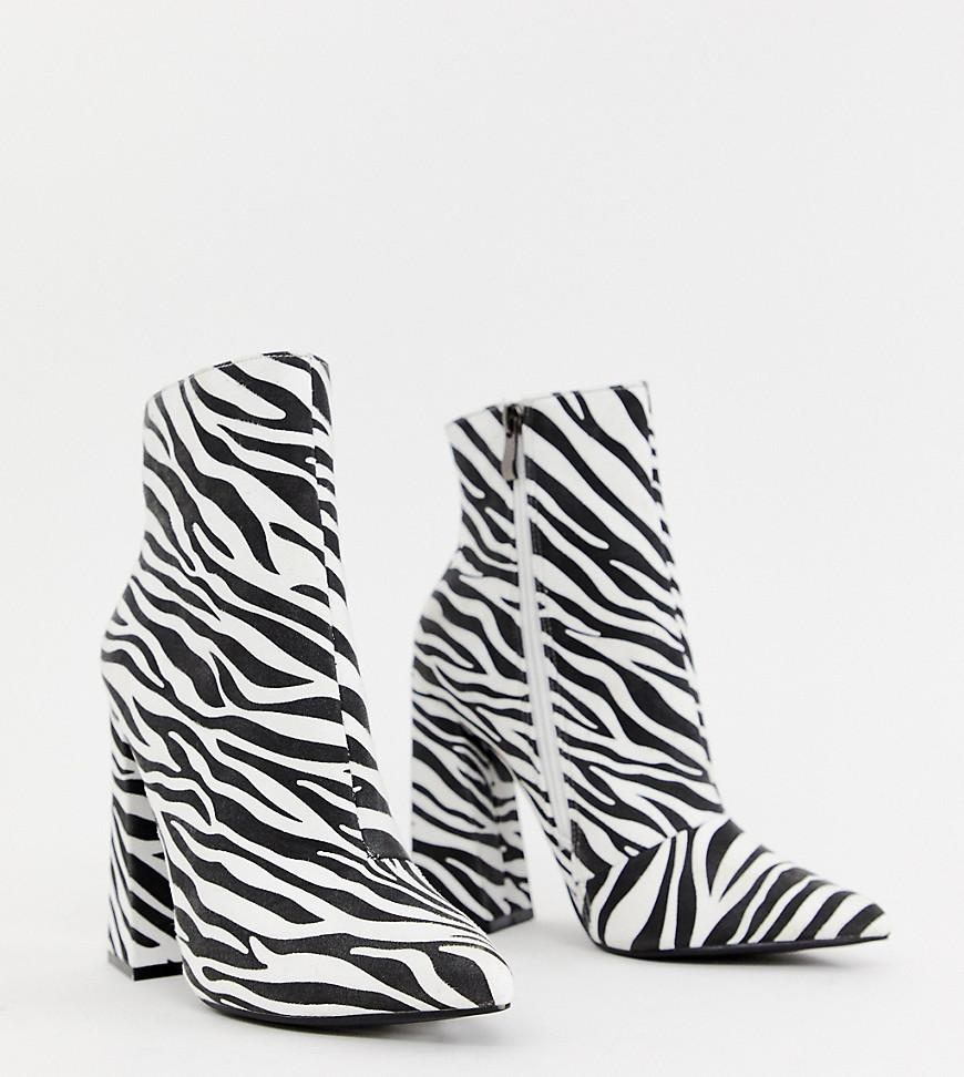 f8991e23acc30 Lyst - Boohoo Heeled Ankle Boots In Zebra