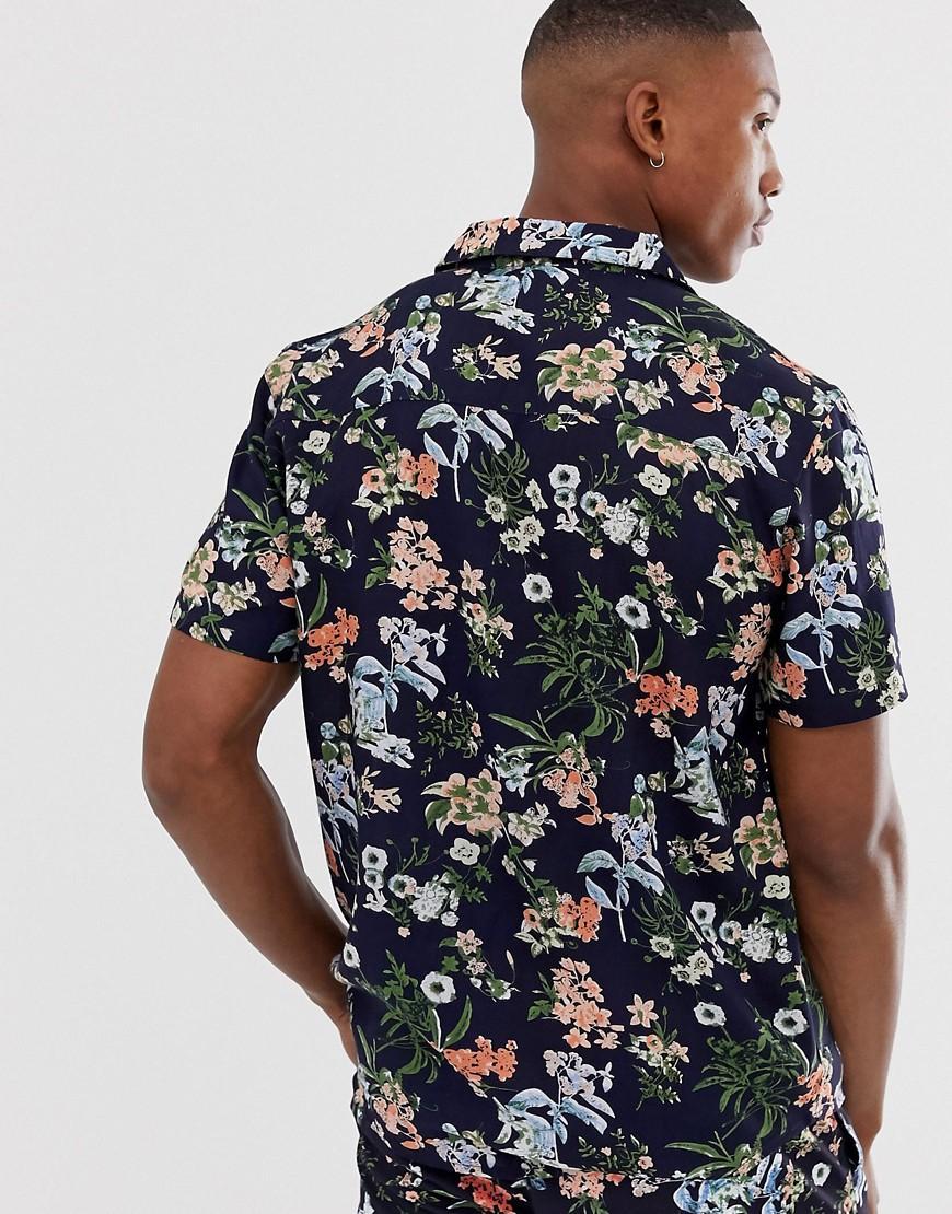 Another Influence Katoen Combi-set, Overhemd Met Korte Mouwen En Bloemenprint in het Blauw voor heren