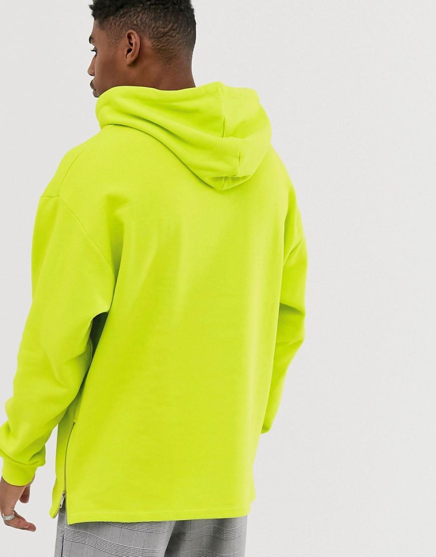 ASOS Katoen Oversized Hoodie Met Zijritsen in het Groen voor heren