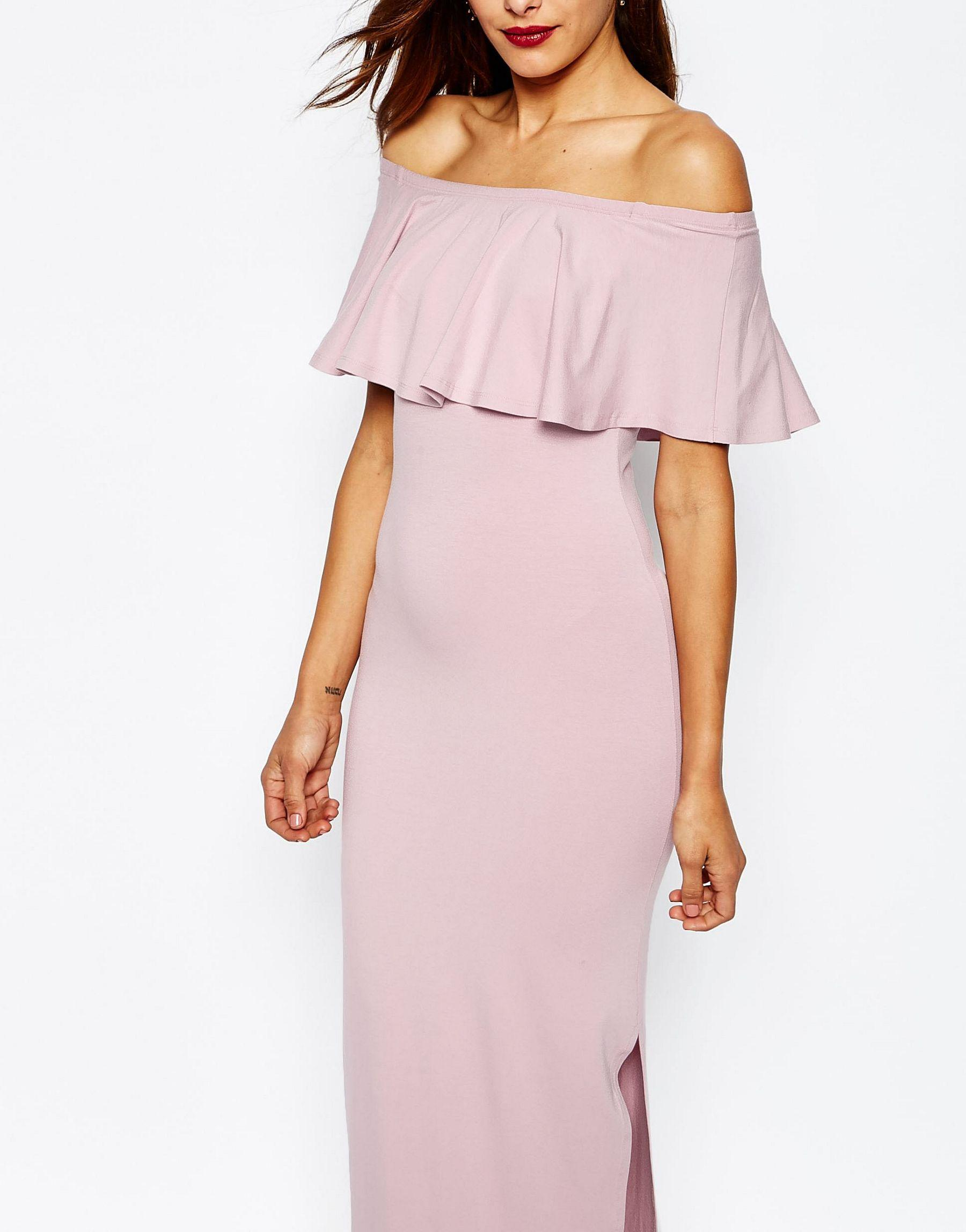 3a4fff2f45f ASOS Purple Ruffle Off Shoulder Bardot Maxi Dress