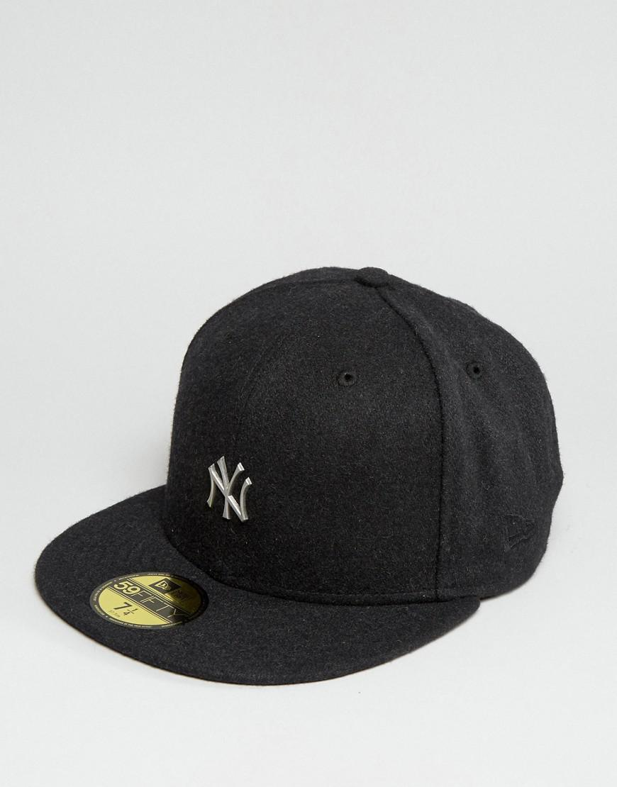 e1fb132f ... italy lyst ktz 59fifty cap fitted ny yankees in melton wool in black  for men 0bd70