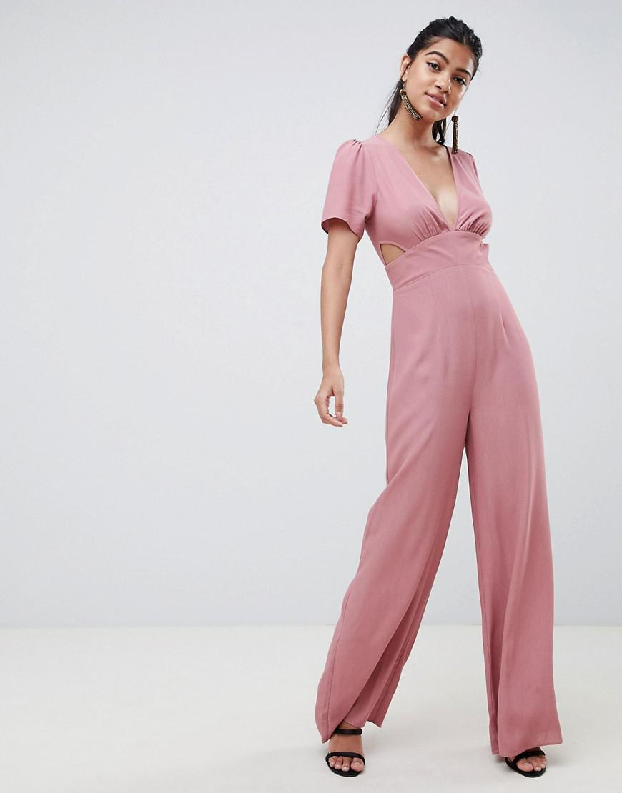 eaa18bb2ba55 Lyst - ASOS Tea Jumpsuit With Cut Out Detail And Wide Leg in Pink