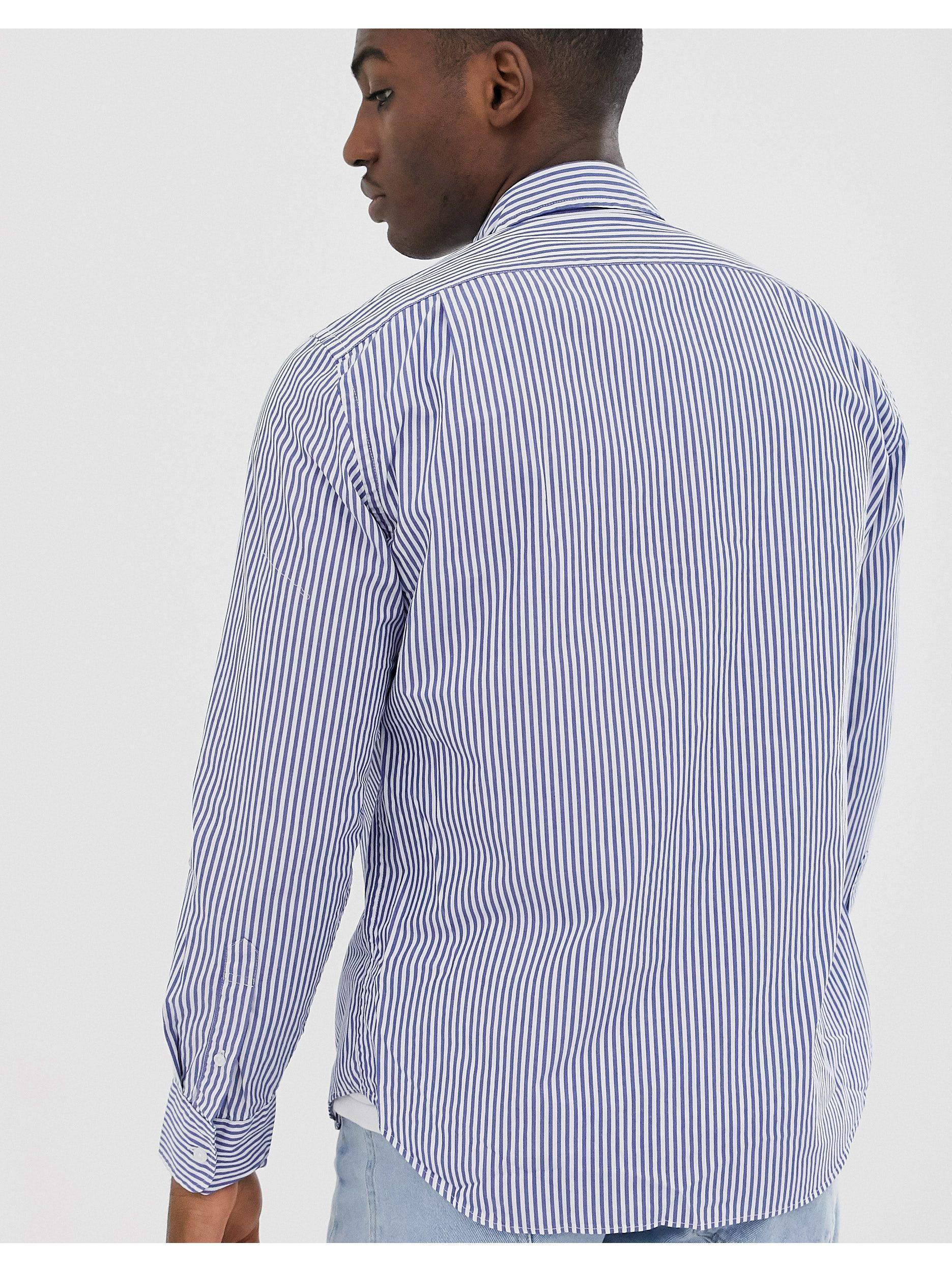 J.Crew Mercantile Denim Gestreept Slim-fit Overhemd Met Button-down Boord En Wassing in het Blauw voor heren
