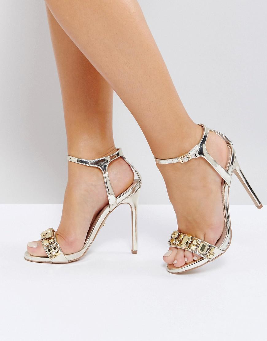 5ebec0ef9 Carvela Kurt Geiger Gail Rose Gold Embellished Heeled Sandals in ...