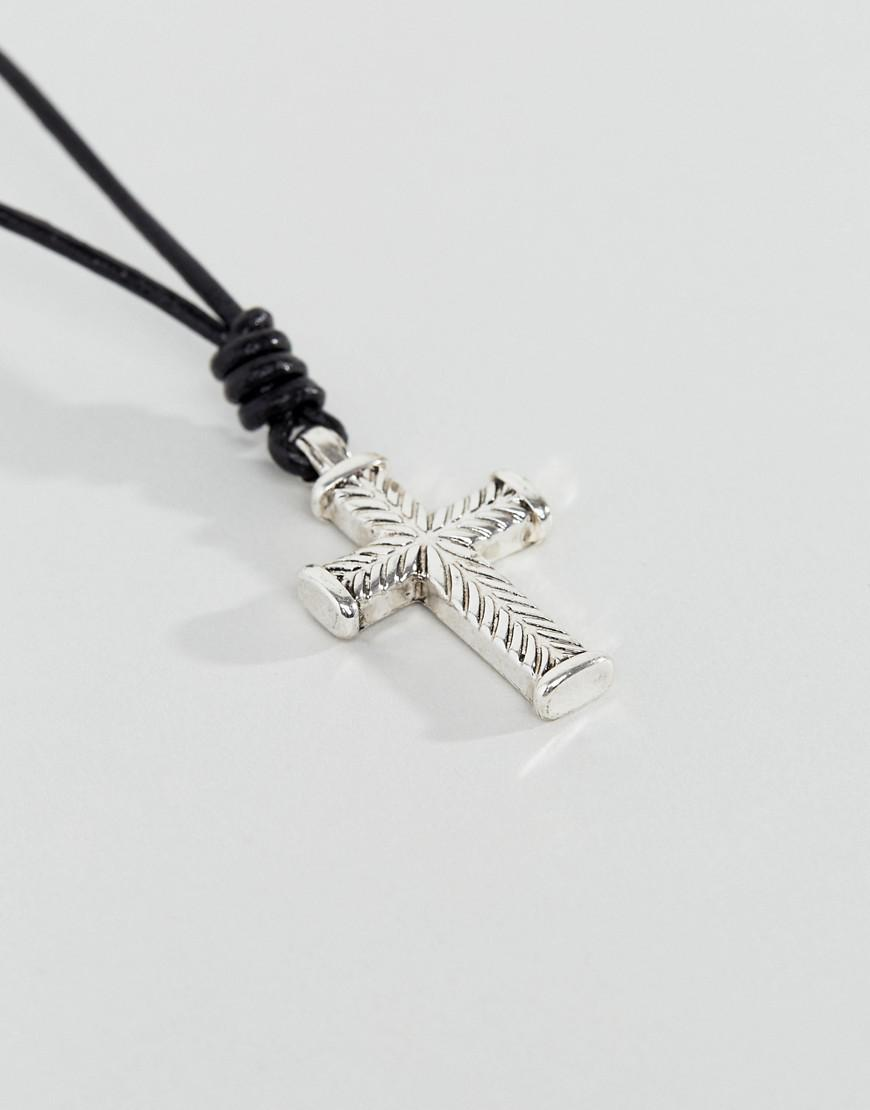 Icon Brand Black Leather Necklace With Silver Cross Pendant in Metallic for Men