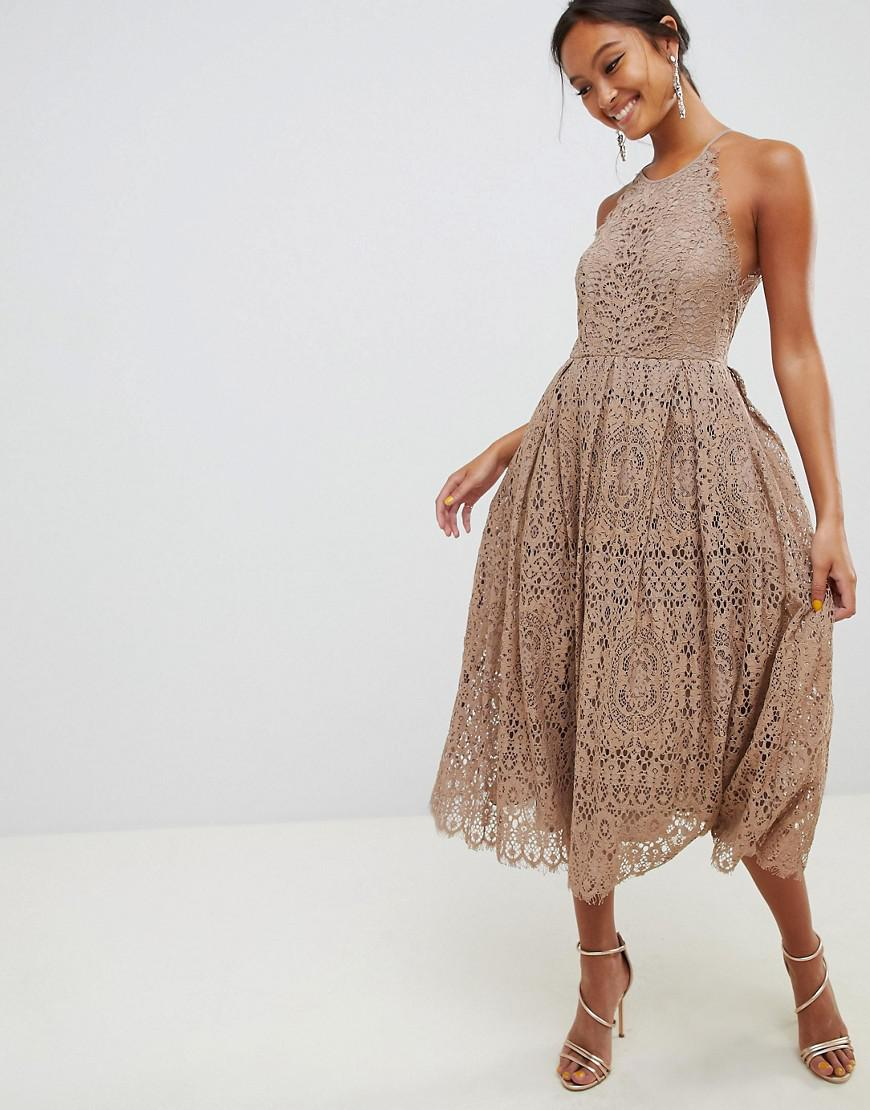 331f28427 Lyst - ASOS Lace Pinny Scallop Edge Midi Prom Dress in Brown