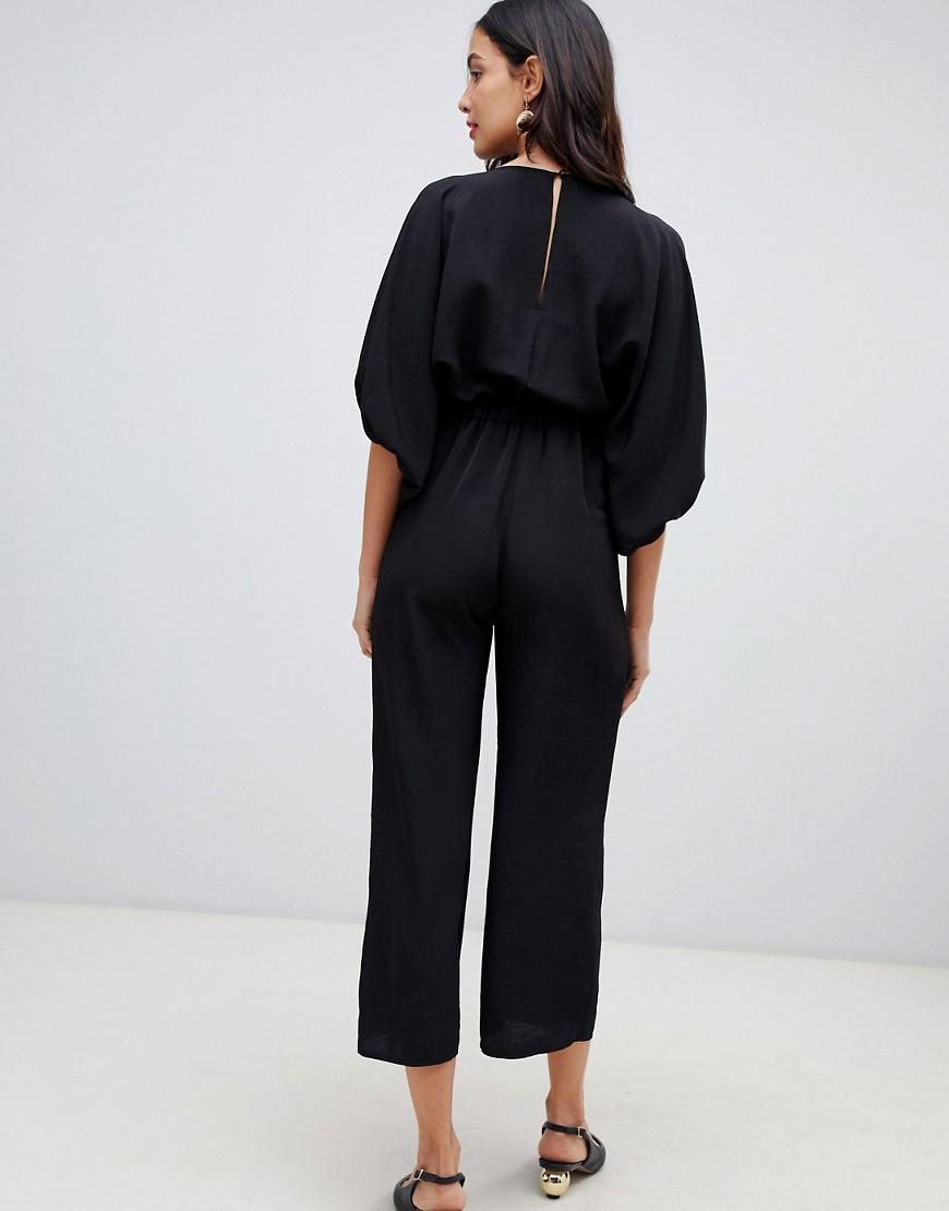 d6ec9c56ca Lyst - ASOS Asos Design Maternity Kimono Sleeve Jumpsuit With Wrap And  Culotte Leg in Black